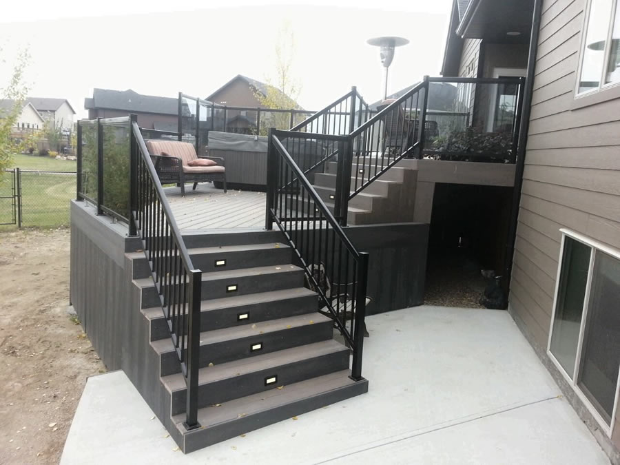 Superb ... Stairs And Composite Deck With Glass Railings.